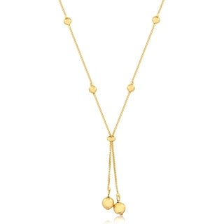 Gold Plated Gold Ball Lariat Necklace