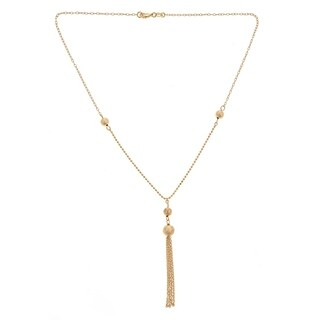 Gold Plated Gold Ball Tassel Drop Necklace