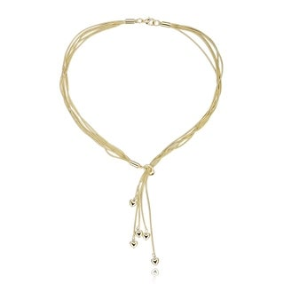 Gold Plated Multi Strand Lariat Necklace