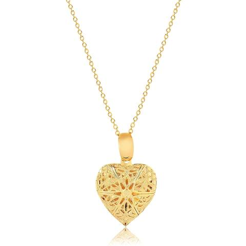 Gold Plated Gold Filigree Cutout Heart Photo Locket Pendant Necklace