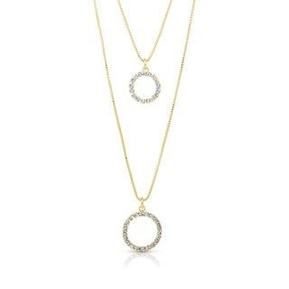 Gold Plated Cubic Zirconia Double Strand Circle Necklace