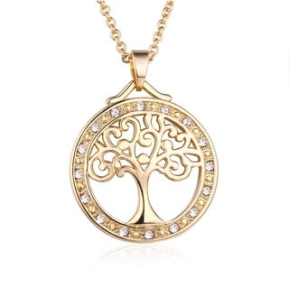 Gold Plated Cubic Zirconia Tree Of Life Pendant Necklace