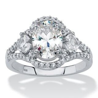 Platinum over Sterling Silver Sapphire Vintage Engagement Ring