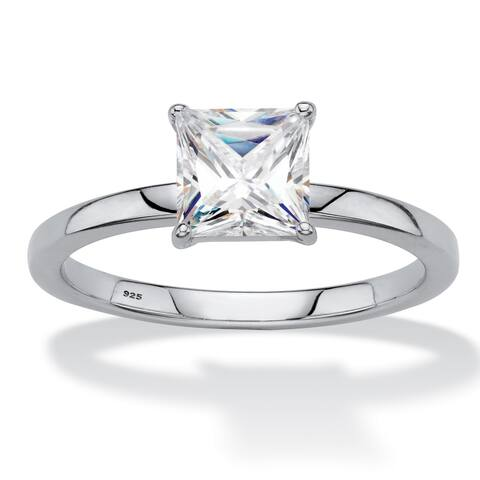 Platinum over Sterling Silver Sapphire Solitaire Engagement Ring