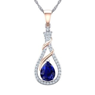 Stunning Two-tone Sterling Silver Swirl Rose Gold 7x5mm Created Blue Sapphire Necklace with Created White Sapphire