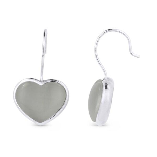 Iced Showroom Sterling Silver Grey Heart Cubic Zirconia Dangling Earring