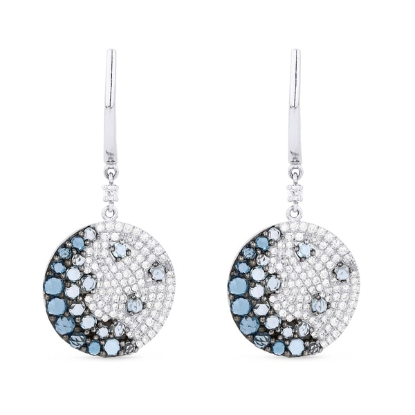 Iced Showroom 14k White Gold Chip Motif With Blue Topaz And Diamond Accents Dangling Earrings