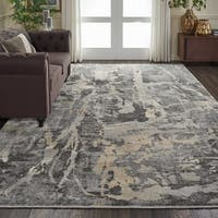 "Nourison Fusion Grey Abstract Rug - 9'6"" x 13'"