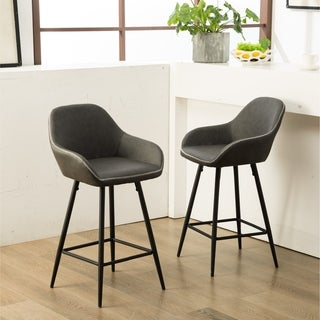 Horgen Gray Faux Leather Barstools with Metal Frame, Set of 2