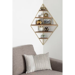 Kate and Laurel Melora Metal and Wood Corner Wall Shelf