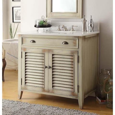 "36"" Benton Collection Abbeville Distressed Beige Bathroom Vanity"