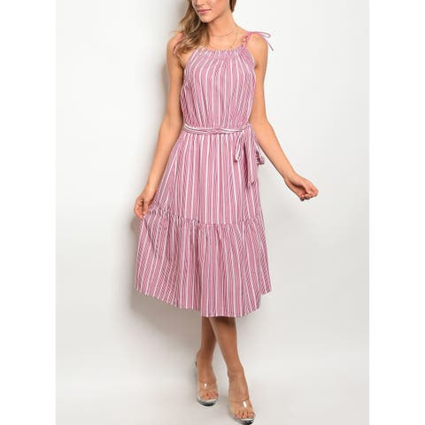 JED Women's Striped Midi Dress with Waist Tie