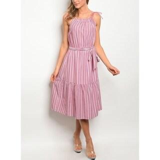 JED Women's Striped Midi Dress with Waist Tie