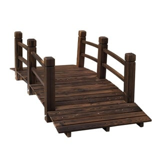Outsunny 5-foot Stained Wood Rustic Arched Decorative Backyard Garden Bridge with Railings