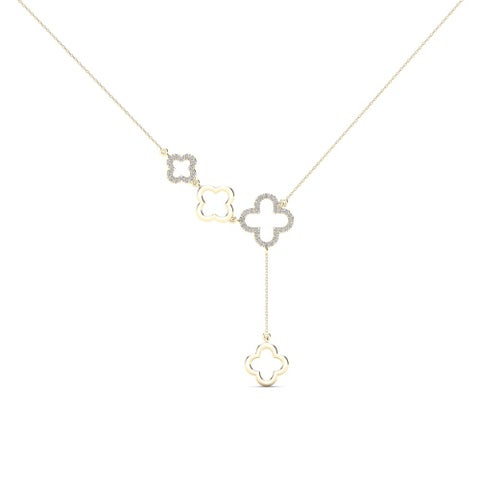 AALILLY 10k Yellow Gold 1/8ct TDW Diamond Clover Y- Necklace (H-I, I1-I2)