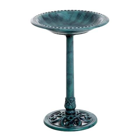 """Outsunny 28"""" Tall Resin Free Standing Garden Pedestal Bird Bath Bowl - Green"""