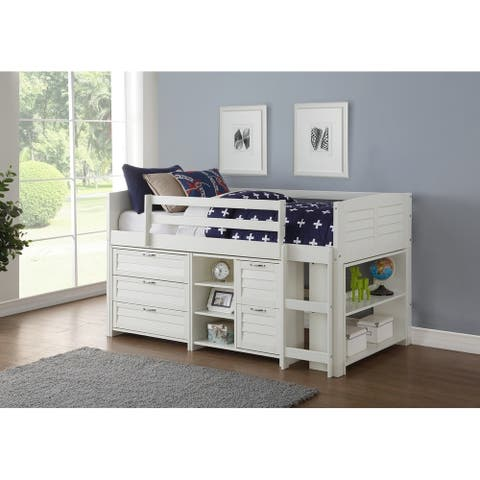 Donco Kids Twin Louver Low Loft in White with Optional Case Goods