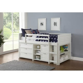 Donco Kids Twin Louver Low Loft in White with 3 Drawer Chest, 2 Drawer Chest with Shelves and Bookcase