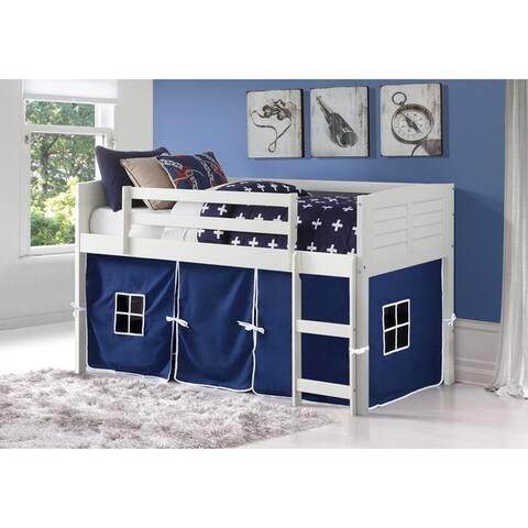 Donco Kids Louver White Twin Low Loft Bed