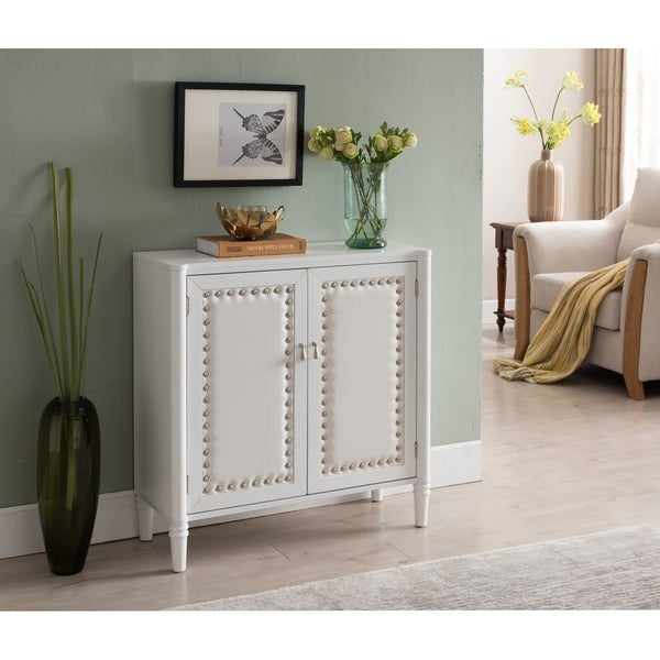 White Faux Leather Console Table
