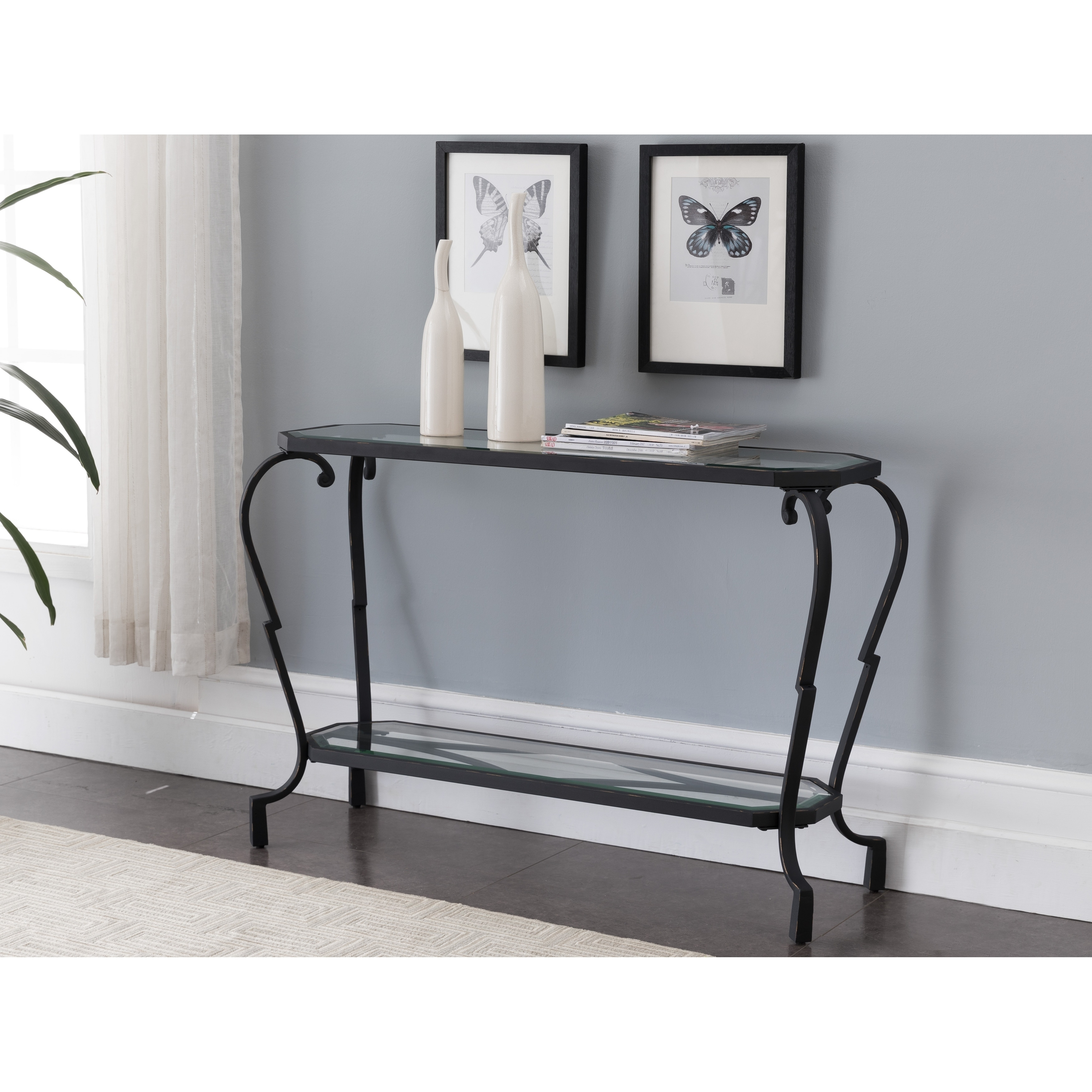 Shop Black And Brushed Copper Metal Glass Console Table On Sale