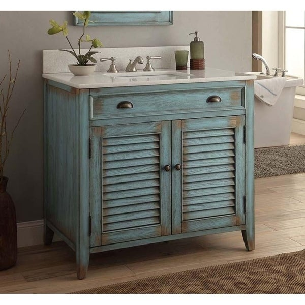 """36"""" Benton Collection Abbeville Distressed Blue Bathroom Vanity. Opens flyout."""