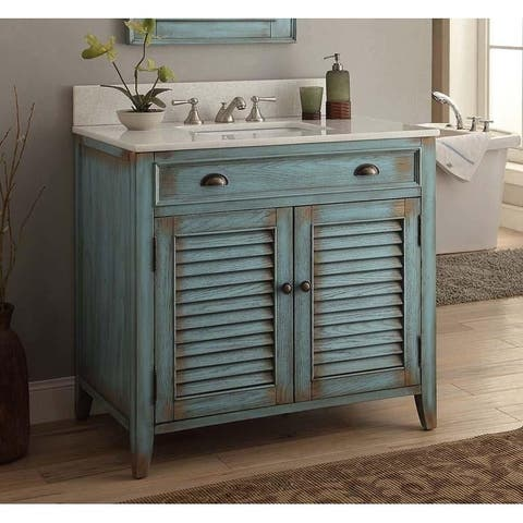 36 Benton Collection Abbeville Distressed Blue Bathroom Vanity