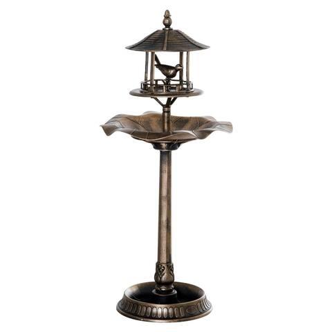 Outsunny Bronze Resin 3-in-1 Freestanding Garden Pedestal Birdbath Bowl Feeder Planter