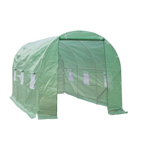 Outsunny 15'x7'x7' Portable Walk-In Gardening Plant Greenhouse with Transparent Plastic Cover & Roll-up Front Entrance - Green