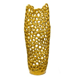 Sagebrook Home HYDE PIERCED VASE, LARGE, YELL