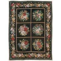 Antique Needlepoint Tiles Rug, Circa 1915 - 5' x 7'