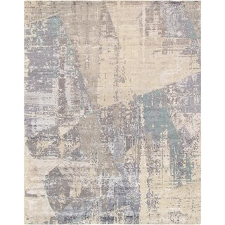 Pasargad Modern Collection Grey/Cream/Ivory Rayon From Bamboo/Wool Handmade Area Rug - 9'0 x 12'0
