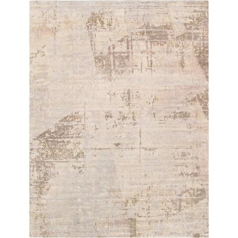 "Pasargad Modern Beige Bsilk&Wool Area Rug (8'0""x10'0"") - 8' x 10'"