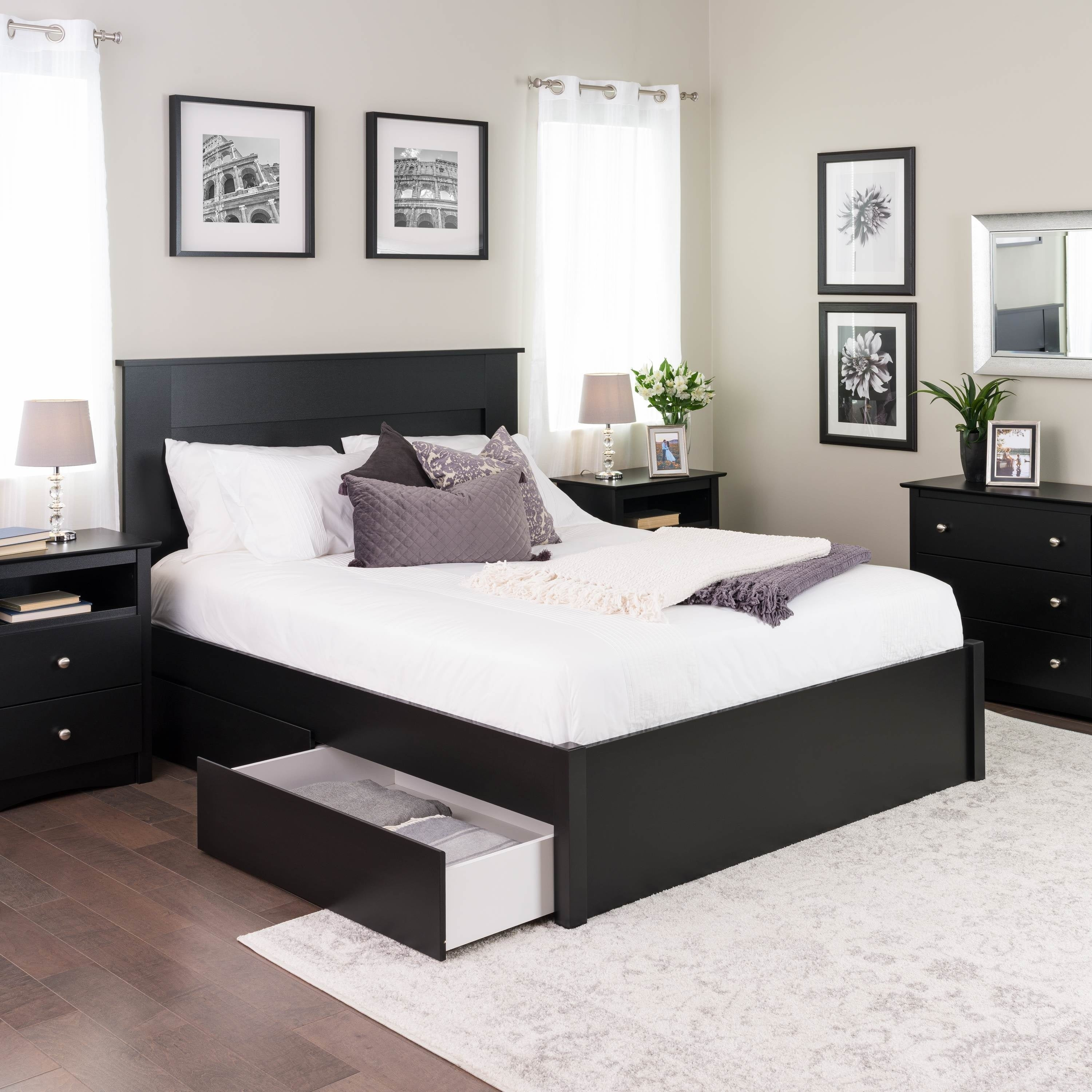cheaper 665d9 1e010 Prepac Queen Select 4-Post Platform Bed with Optional Drawers