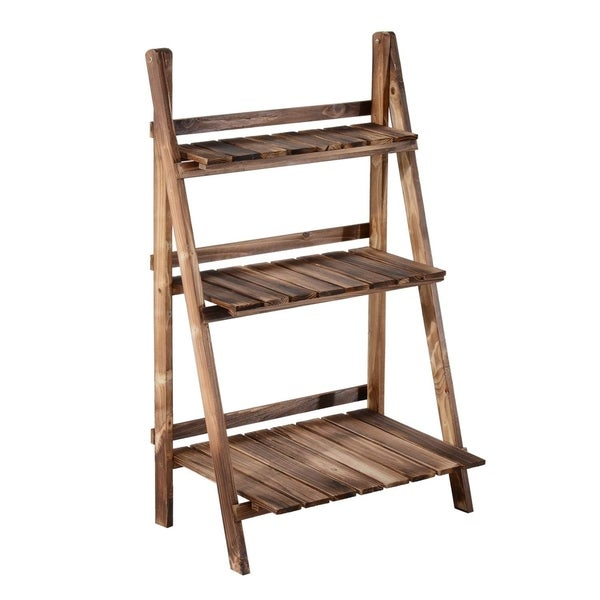 "Outsunny 24"" Wooden 3-Tier Ladder Plant Stand"