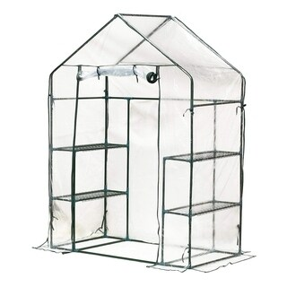 Outsunny 4.5' x 2.5' x 6.5' Outdoor Portable Walk-In Greenhouse with 3 Tier Storage Shelves