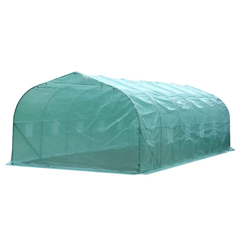 Outsunny 26' x 10' x 6.5' Large Outdoor Heavy Duty Walk-In Greenhouse with 12 Windows & Netted Ventilation Screens, Green
