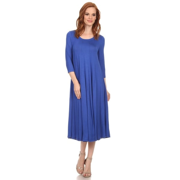 Women's Solid A-Line Paneled Detail Midi Jersey Knit Dress. Opens flyout.