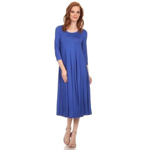 Women's Solid A-Line Paneled Detail Midi Jersey Knit Dress