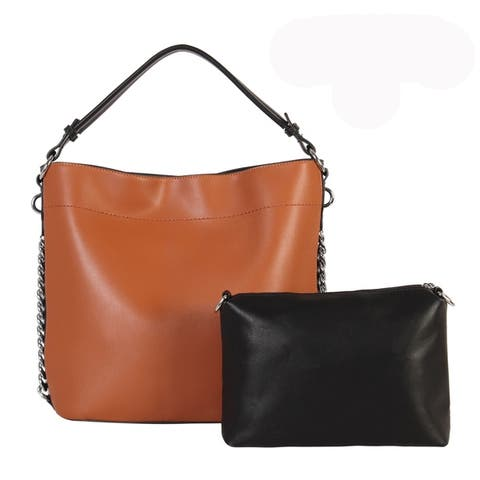 Diophy PU Leather Sides Chain Decoration Hobo 2 Pieces Set