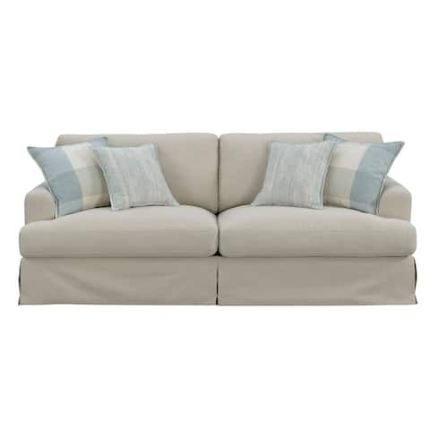 """Emerald Home Charlotte Natural and Bay Blue 88.3"""" Sofa with Loose Cushions And Skirted Base"""