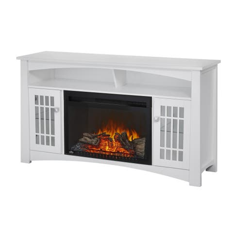 Napoleon Adele White Entertainment Center/TV Stand with Electric Fireplace & Media Storage