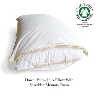 Down Pillow in a Pillow with Shredded Memory Foam Inner