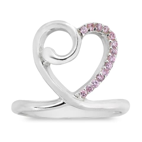 Handmade Sweet Heart Crown CZ Sterling Silver Ring (Thailand)