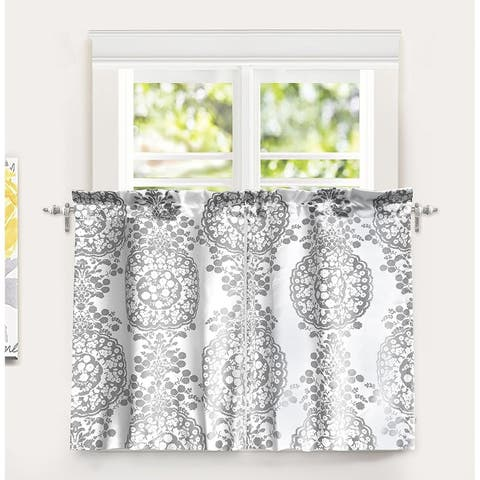 "DriftAway Samantha Pastel Damask Printed Room Darkening Kitchen Tier Pair - 30"" width x 36 "" length"