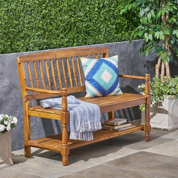 Imperial Outdoor Rustic Acacia Wood Bench with Shelf by Christopher Knight Home