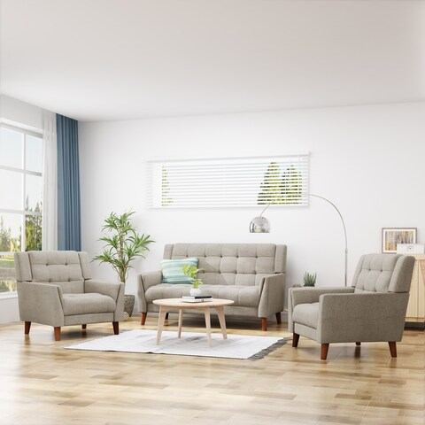 Candace Mid Century Modern Fabric Arm Chair and Loveseat Set by Christopher Knight Home