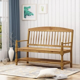 Lennon Indoor Farmhouse Acacia Wood Bench with Shelf by Christopher Knight Home