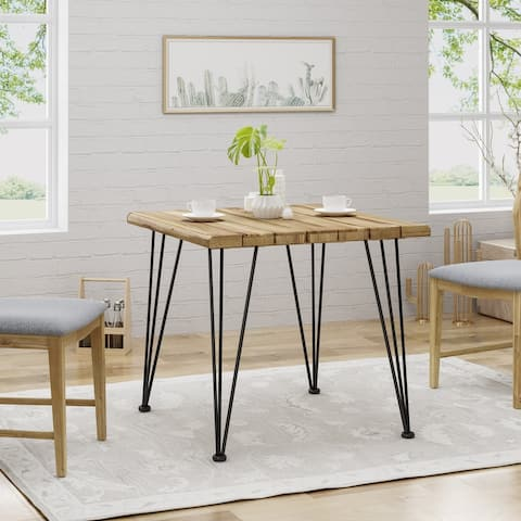 Maverick Indoor Industrial Acacia Wood Dining Table by Christopher Knight Home - Teak