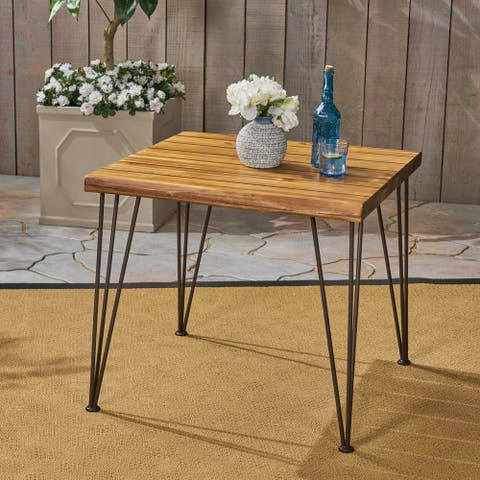 Zion Outdoor Industrial Acacia Wood Dining Table by Christopher Knight Home